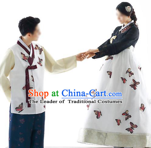 Traditional Korean Costumes Bride and Bridegroom Formal Attire Ceremonial White Clothes, Korea Hanbok Court Embroidered Clothing for Women for Men