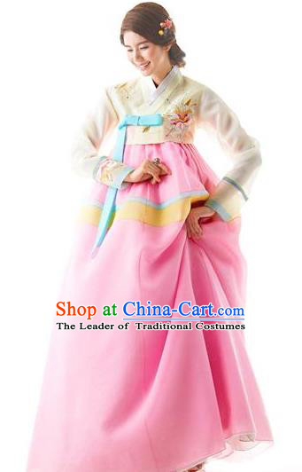 Traditional Korean Costumes Bride Wedding Clothing, Korea Hanbok Queen Court Embroidered Clothing for Women
