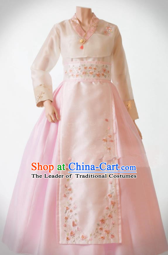 Traditional Korean Costumes Bride Wedding Pink Dress, Korea Hanbok Queen Court Embroidered Clothing for Women