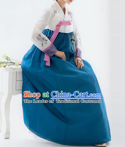 Traditional Korean Costumes Bride Wedding White Blouse and Blue Silk Dress, Korea Hanbok Princess Court Embroidered Clothing for Women