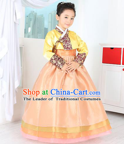 Traditional Korean Handmade Formal Occasions Costume Embroidered Baby Brithday Girls Yellow Hanbok Clothing