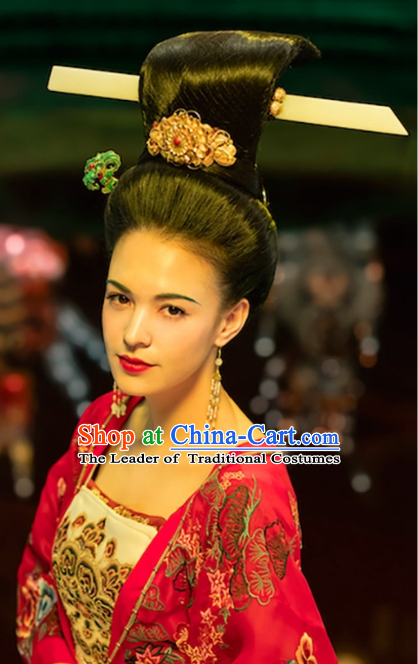 Ancient China Tang Dynasty Empress Beauty Yang Guifei Black Wig and Hair Jewelry