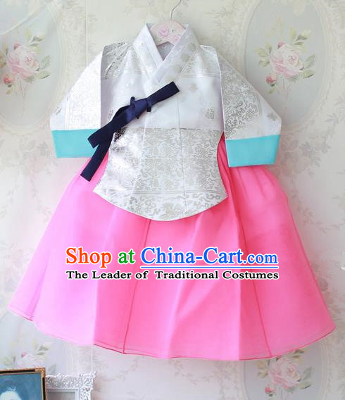 Asian Korean Traditional Handmade Formal Occasions Costume Princess Embroidered White Blouse and Pink Dress Hanbok Clothing for Girls