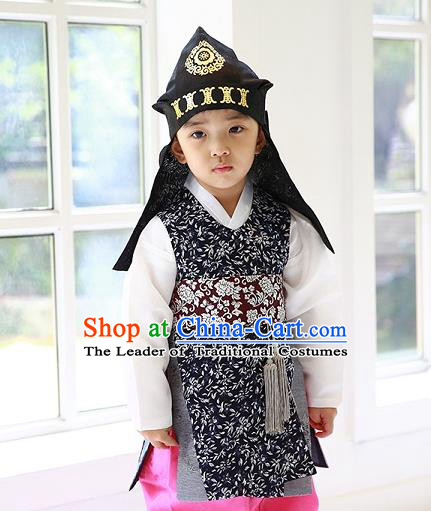 Asian Korean Traditional Handmade Formal Occasions Costume Palace Prince Embroidered Black Hanbok Clothing for Boys