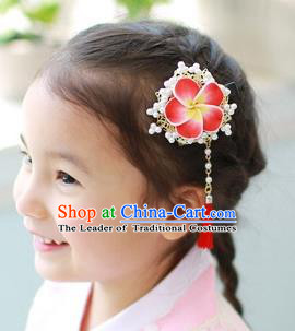 Traditional Korean Hair Accessories Flowers Tassel Hair Claw, Asian Korean Fashion Headwear Hair Stick for Kids