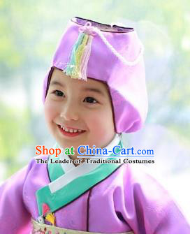 Traditional Korean Hair Accessories Girls Formal Occasions Embroidered Purple Hats, Asian Korean Fashion Headwear for Kids