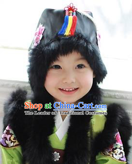 Traditional Korean Hair Accessories Bride Black Embroidered Hats, Asian Korean Fashion Girls Wedding Headwear for Kids