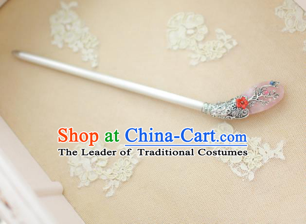 Traditional Korean Hair Accessories Bride Pink Jade Hairpins, Asian Korean Fashion Wedding Headwear for Kids