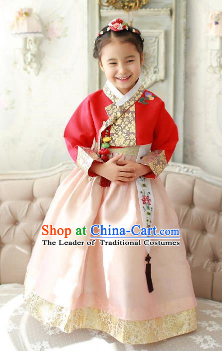 Asian Korean Traditional Handmade Formal Occasions Costume Palace Princess Embroidered Red Blouse and Pink Dress Hanbok Clothing for Girls