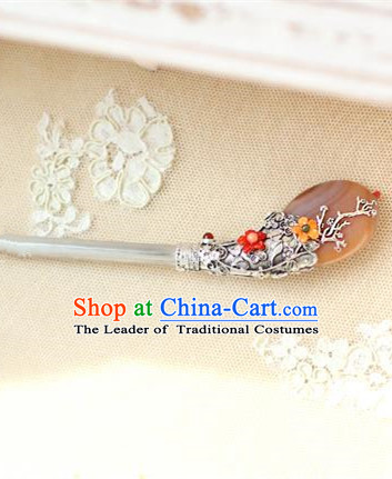Traditional Korean Hair Accessories Bride Brown Jade Hairpins, Asian Korean Fashion Wedding Headwear for Kids