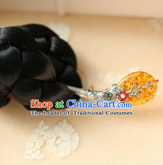 Traditional Korean Hair Accessories Bride Yellow Jade Hairpins, Asian Korean Fashion Wedding Headwear for Kids