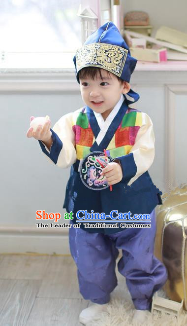 Asian Korean Traditional Handmade Formal Occasions Boys Embroidered Deep Blue Costume Hanbok Clothing for Boys