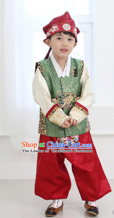 Asian Korean Traditional Handmade Formal Occasions Boys Embroidered Green Costume Hanbok Clothing for Boys