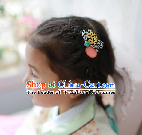 Traditional Korean Hair Accessories Pink Butterfly Hair Stick, Asian Korean Fashion Wedding Headwear for Kids
