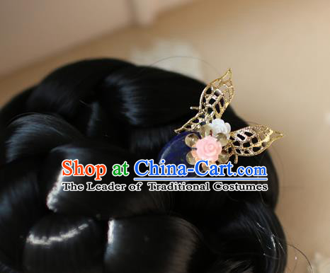 Traditional Korean Hair Accessories Bride Butterfly Flower Hairpins, Asian Korean Fashion Wedding Headwear for Kids