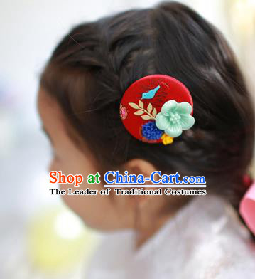 Traditional Korean National Hair Accessories Red Hairpins, Asian Korean Fashion Hanbok Hair Decorations Headwear for Kids