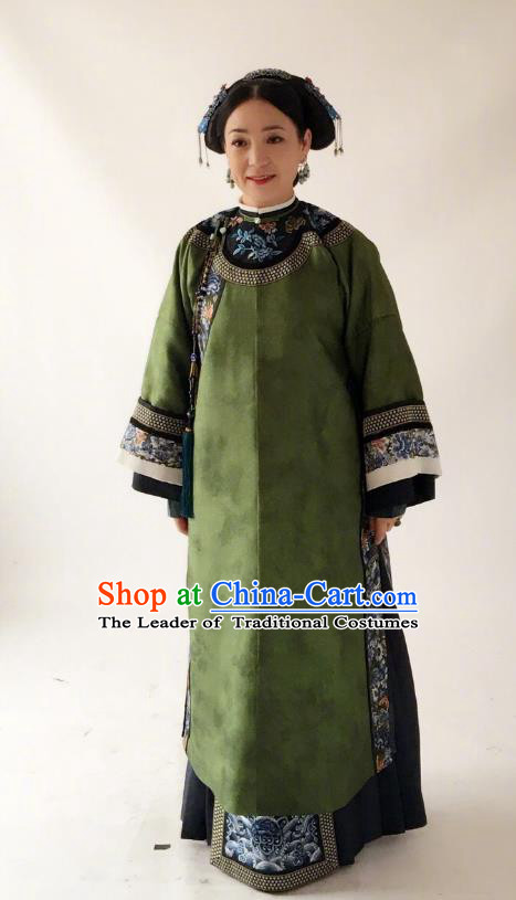 Story of Yanxi Palace Traditional Ancient Chinese Old Granny Costume, Chinese Qing Dynasty Manchu Palace Lady Embroidered Clothing for Women