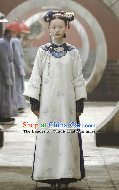 Story of Yanxi Palace Traditional Ancient Chinese Young Lady Costume, Chinese Qing Dynasty Manchu Palace Imperial Consort Embroidered Clothing for Women