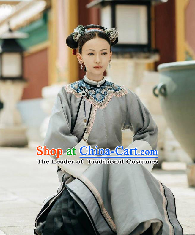 Traditional Ancient Chinese Qing Dynasty Young Lady Costume, Chinese Manchu Palace Imperial Consort Embroidered Clothing for Women