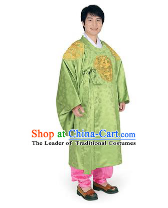 Korean National Traditional Handmade Wedding Embroidery Hanbok Costume, Asian Korean Palace Bridegroom Green Dragon Robe for Men