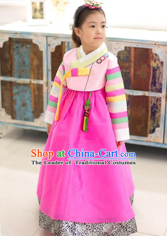 Asian Korean National Traditional Handmade Formal Occasions Girls Embroidery Hanbok Costume Pink Blouse and Rosy Dress Complete Set for Kids