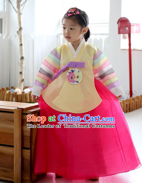Asian Korean National Traditional Handmade Formal Occasions Girls Embroidery Hanbok Costume Yellow Blouse and Pink Dress Complete Set for Kids
