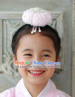 Traditional Korean Hair Accessories Embroidered Pink Lace Hair Clasp, Asian Korean Hanbok Fashion Headwear Headband for Kids