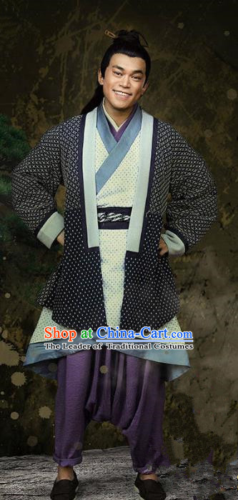 Traditional Chinese Ancient Han Dynasty Swordsman Costume, Chinese Three Kingdoms Period Knight Hanfu Clothing for Men