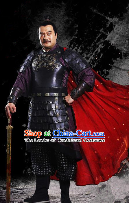 Traditional Chinese Ancient Han Dynasty General Costume, Chinese Three Kingdoms Period Knight Armor Clothing for Men