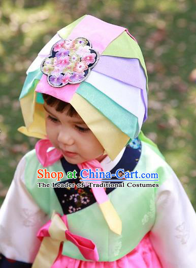Traditional Korean Hair Accessories Bride Embroidered Pink Hats, Asian Korean Fashion Hanbok Headwear for Girls