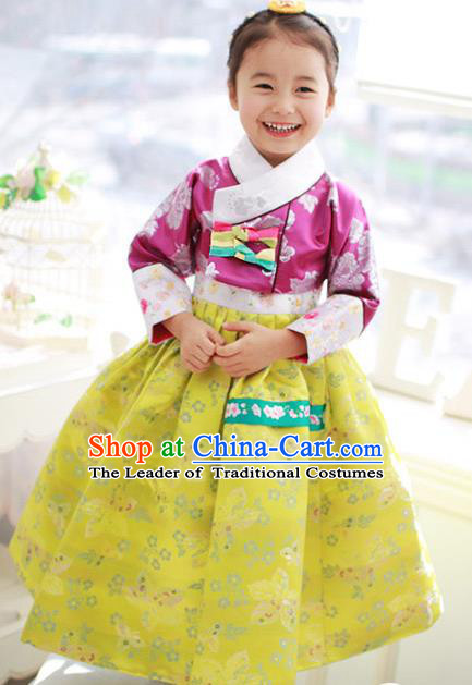 Korean National Handmade Formal Occasions Embroidered Rosy Blouse and Yellow Dress Hanbok Costume for Kids