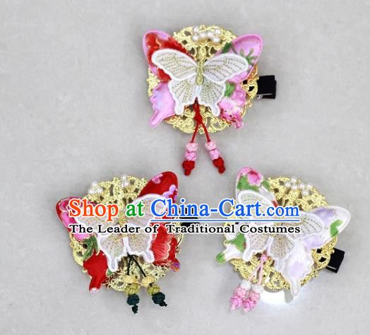 Traditional Korean Hair Accessories Butterfly Hair Stick, Asian Korean Wedding Hanbok Hair Decorations Headwear for Kids