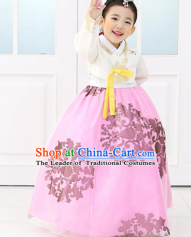 Korean National Handmade Formal Occasions Embroidered White Blouse and Pink Dress, Asian Korean Girls Palace Hanbok Costume for Kids
