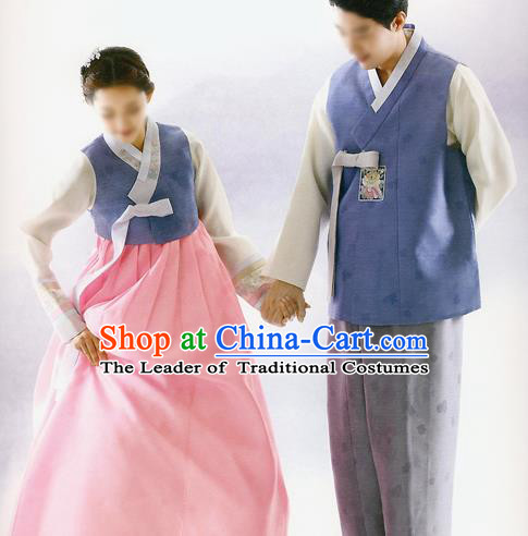 Korean National Handmade Formal Occasions Embroidered Bride and Bridegroom Wedding Hanbok Costume for Women for Men