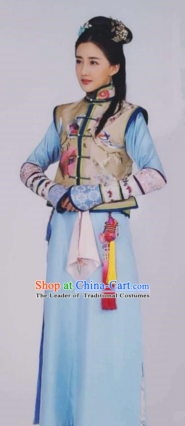 Traditional Chinese Qing Dynasty Princess Costume, China Ancient Manchu Lady Mandarin Embroidered Clothing for Women