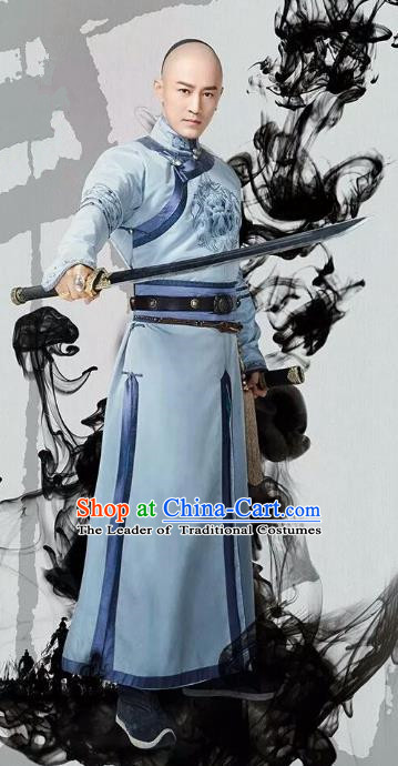 Traditional Chinese Qing Dynasty Prince Costume, China Ancient Manchu Nobility Childe Mandarin Embroidered Clothing for Men