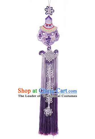 Traditional Korean Accessories Embroidered Waist Pendant Chinese Knot Palace Taeniasis, Asian Korean Wedding Hanbok Purple Tassel Waist Decorations for Women