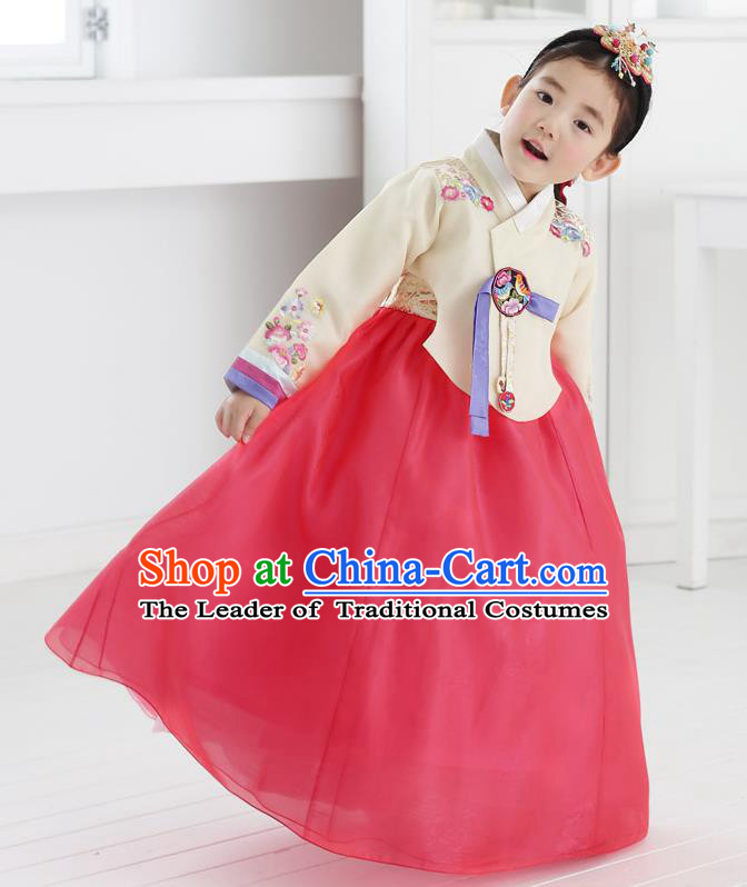 Asian Korean National Handmade Formal Occasions Embroidered Beige Blouse and Pink Dress Hanbok Costume for Kids