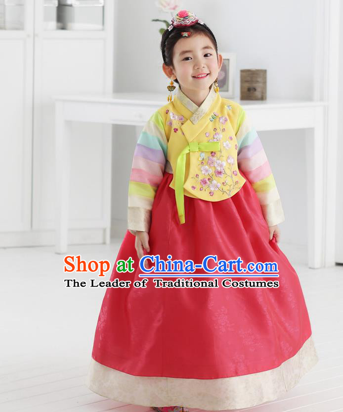 Asian Korean National Handmade Formal Occasions Embroidered Yellow Blouse and Red Dress Hanbok Costume for Kids