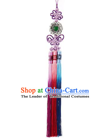 Korean National Belts Accessories Bride Wedding Hanbok Tassel Waist Pendant, Asian Korean Purple Chinese Knot Waist Decorations for Women