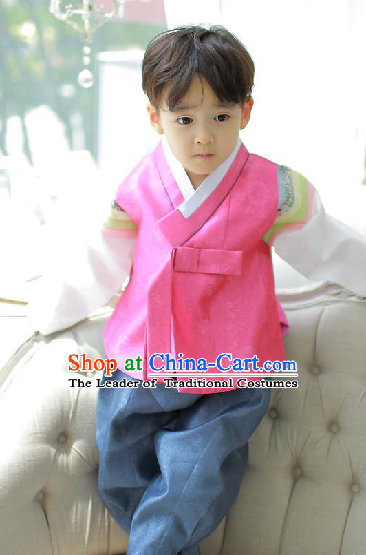 Asian Korean National Handmade Formal Occasions Embroidered Palace Prince Rosy Hanbok Costume Complete Set for Boys