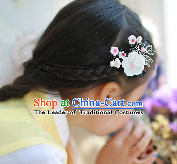 Traditional Korean Hair Accessories White Flowers Hair Claw, Asian Korean Hanbok Fashion Headwear for Kids
