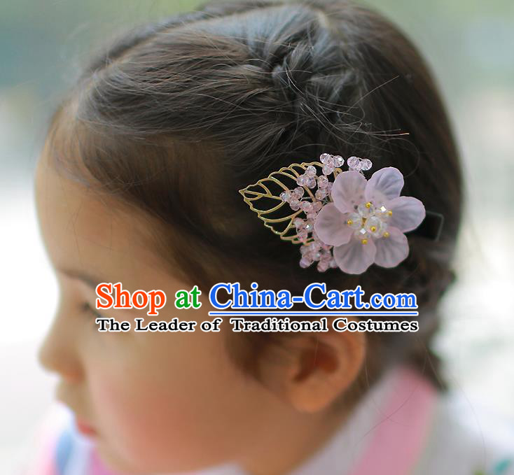 Traditional Korean Hair Accessories Pink Flowers Hair Claw, Asian Korean Hanbok Fashion Headwear for Kids