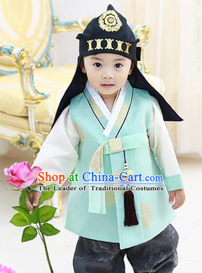 Asian Korean National Handmade Formal Occasions Embroidered Palace Prince Green Hanbok Costume Complete Set for Boys