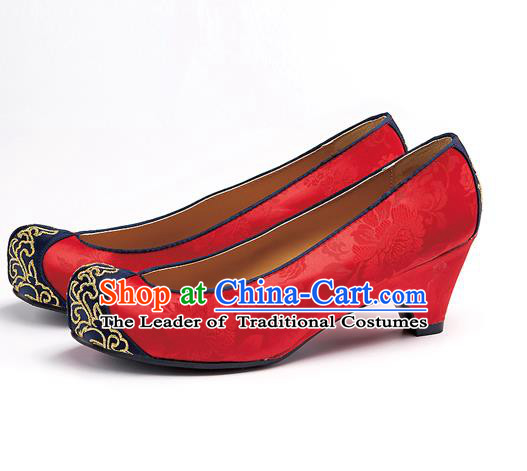 Traditional Korean National Wedding Embroidered Red Shoes, Asian Korean Hanbok Bride Embroidery Shoes for Women