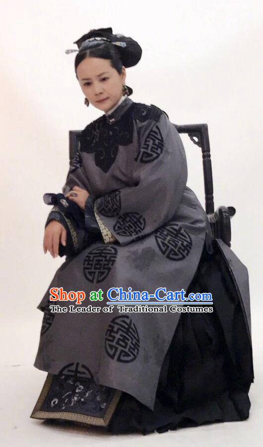 Story of Yanxi Palace Traditional Chinese Qing Dynasty Manchu Dowager Countess Embroidered Costume for Women