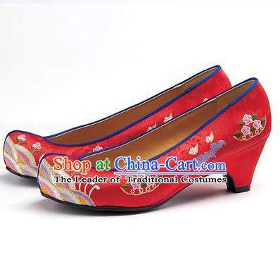 Traditional Korean National Wedding Shoes Embroidered Shoes, Asian Korean Hanbok Embroidery Red High-heeled Court Shoes for Women