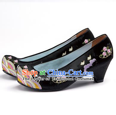 Traditional Korean National Wedding Shoes Embroidered Shoes, Asian Korean Hanbok Embroidery Black High-heeled Court Shoes for Women