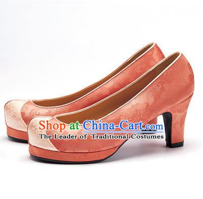 Traditional Korean National Wedding Shoes Orange Embroidered Shoes, Asian Korean Hanbok High-heeled Court Shoes for Women