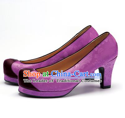 Traditional Korean National Wedding Shoes Purple Embroidered Shoes, Asian Korean Hanbok High-heeled Court Shoes for Women